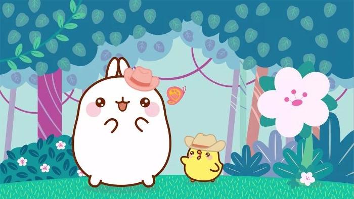 idee de fond d écran kawaii avec des animaux kawaii lapin et poussin sur fond foret tropical fleurie