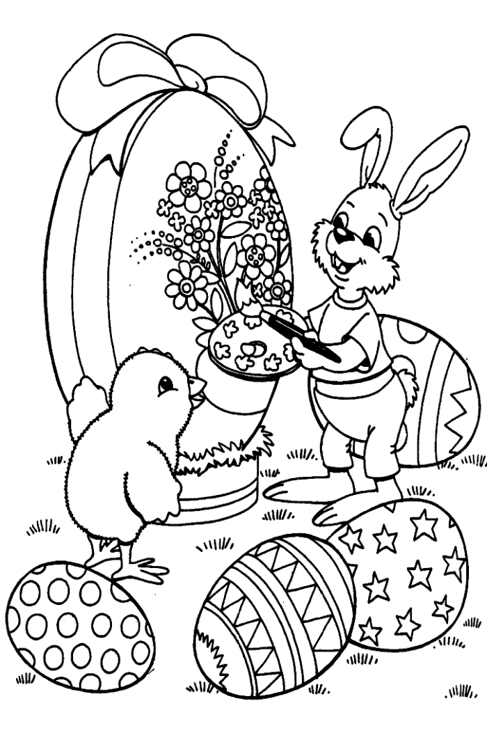 dessin oeuf de paques facile pour enfants, idée coloriage simple avec oeufs et animaux pour la fête de Pâques