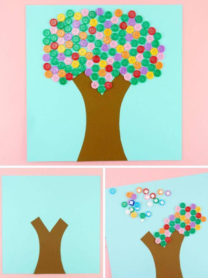 idée comment fabriquer un arbre en boutons colorés et papier, activité manuelle maternelle de printemps
