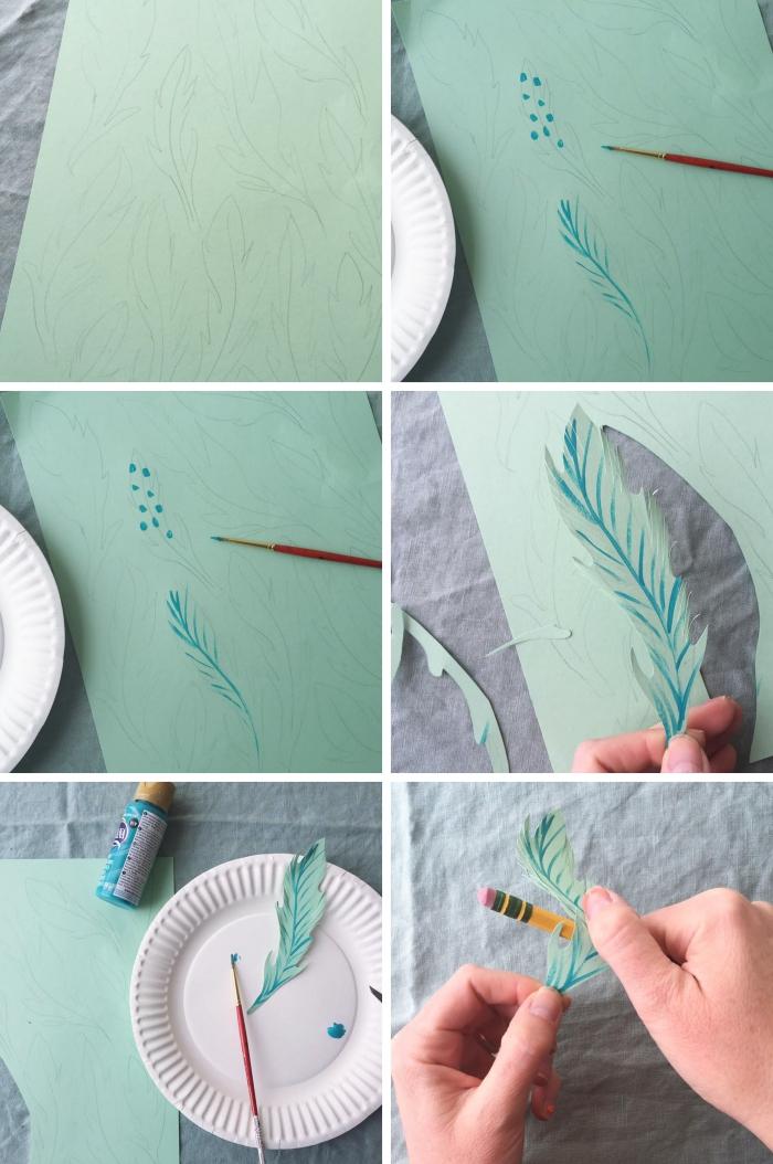 activité paques facile pour enfants, tutoriel comment faire des plumes en papier pour décorer un arbre suédois de pâques