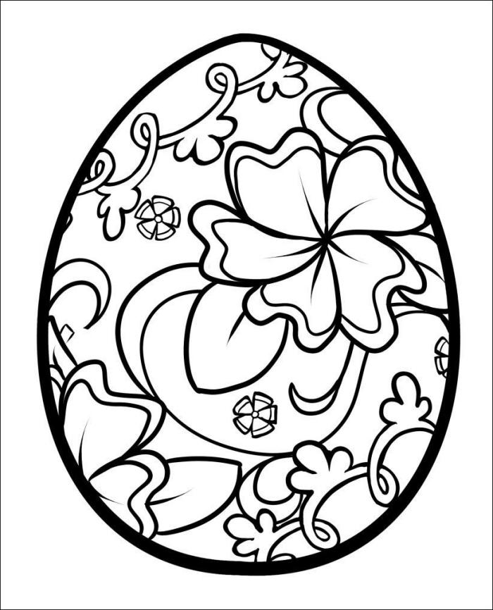 coloriage paques à imprimer pour grands et petits, idée de dessin mandala avec gros oeuf décoré de fleurs