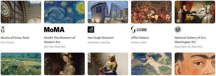 le site arts & culture de Google proposent de nombreuses visites de musées virtuelles et autres activités en ligne pédagogiques