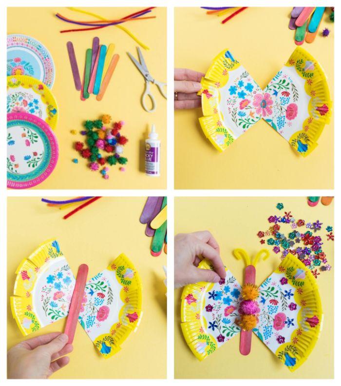 que faire avec une assiette de papier coloré et des batonnets de glace, fabriquer un papillon décorée de pompons colorés, activite enfant 3 ans
