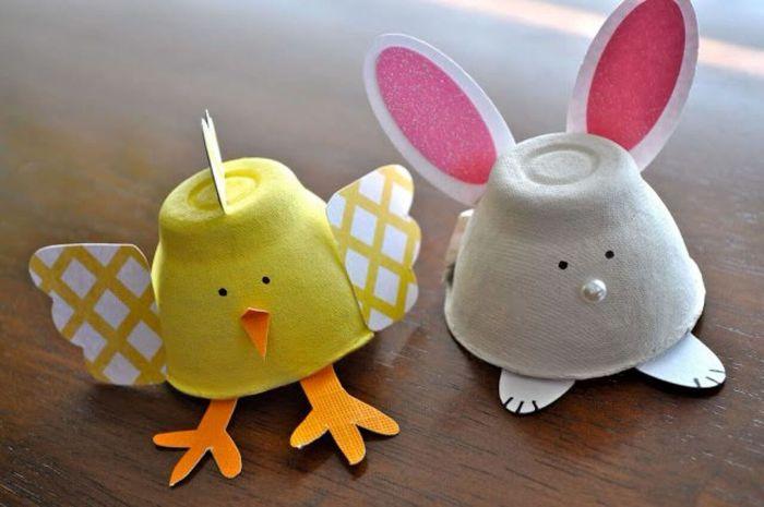 activité manuelle facile 3-5 ans, boite a oeuf pour fabriquer poussin ou lapin de paques en carton avec des ailes et pattes de papier, activité de paques originale