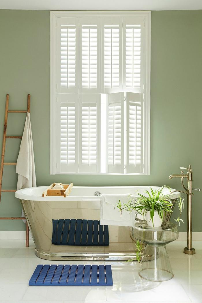 Peinture taupe idee salle de bain avec baignoire métal, couleur peinture salle de bain photo