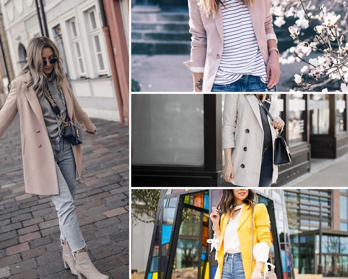 comment bien assortir les couleurs de ses vêtements au printemps, look casual chic en jeans clairs et blazer femme