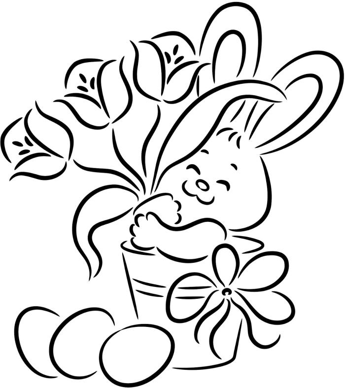 coloriage paques à imprimer, idée de dessin facile à colorier pour les enfants, modèle illustration de Pâques simple
