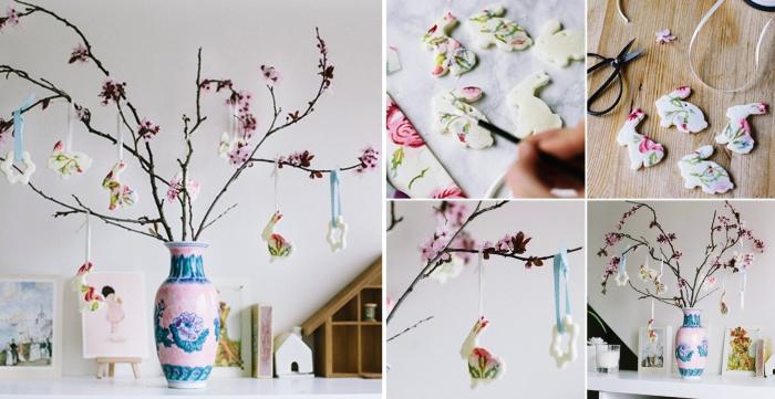 idée de bricolage de paques facile avec branches et ornements DIY, diy arbre en branches de cerisier décorés de figurines de lapin