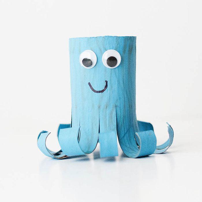 quelle activité manuelle été en maternelle, idée pieuvre activité rouleau papier toilette facile pour tout petit