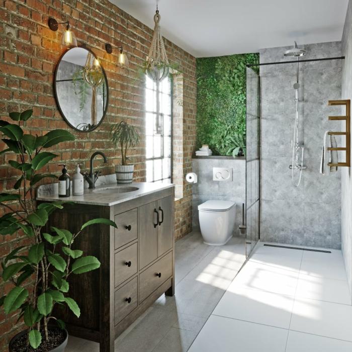 Mur style industriel en briques, partie verte avec plantes vives, couleur peinture salle de bain, savoir associer les couleurs