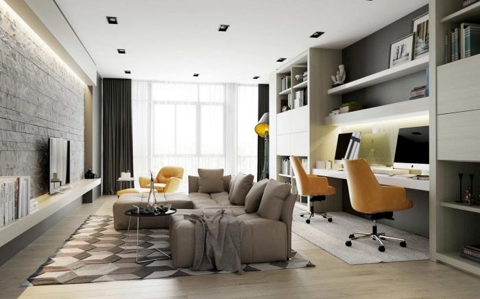 aménagement bureau à domicile dans un salon moderne, design intérieur contemporain avec home office bureau intégré