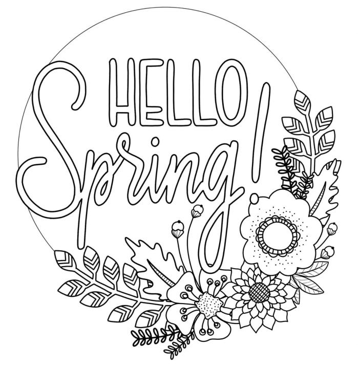coloriage fleur de printemps, dessin facile à colorer avec lettres Joyeux printemps et couronne de fleurs saisonnières