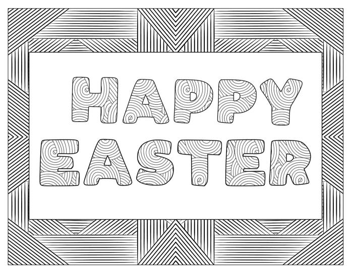 coloriage paques facile pour adultes, idée de carte de Pâques originale à imprimer et colorer avec lettres joyeuse fête