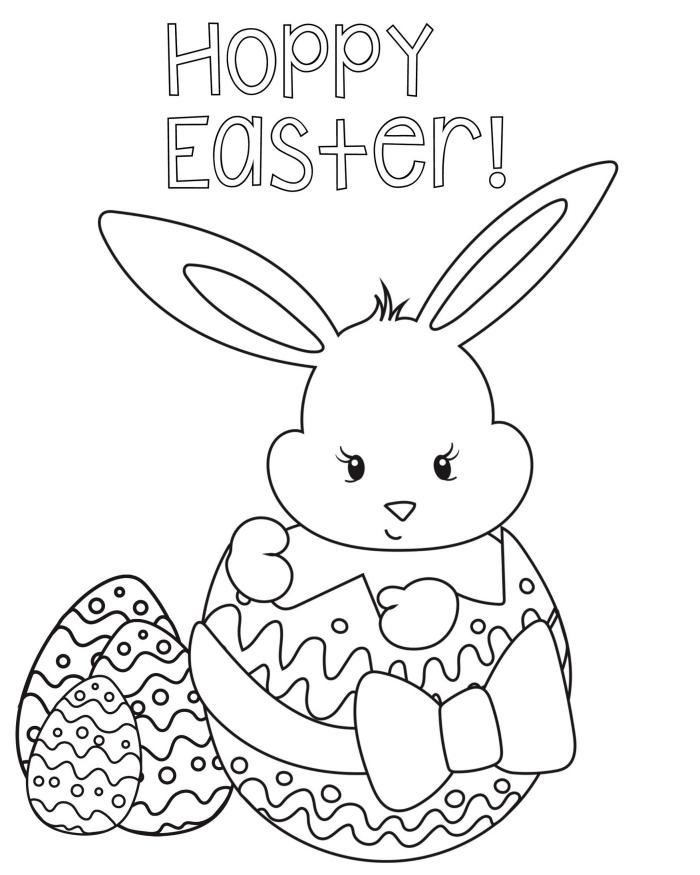 idée coloriage de pâques facile pour enfant, exemple de dessin à imprimer et colorer à motifs petit lapin et oeuf de Pâques
