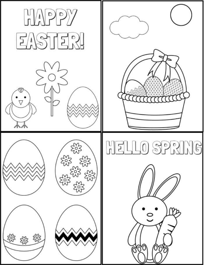 modèles de dessin oeuf de paques simples à imprimer, idée coloriage facile pour enfant sur le thème de Pâques