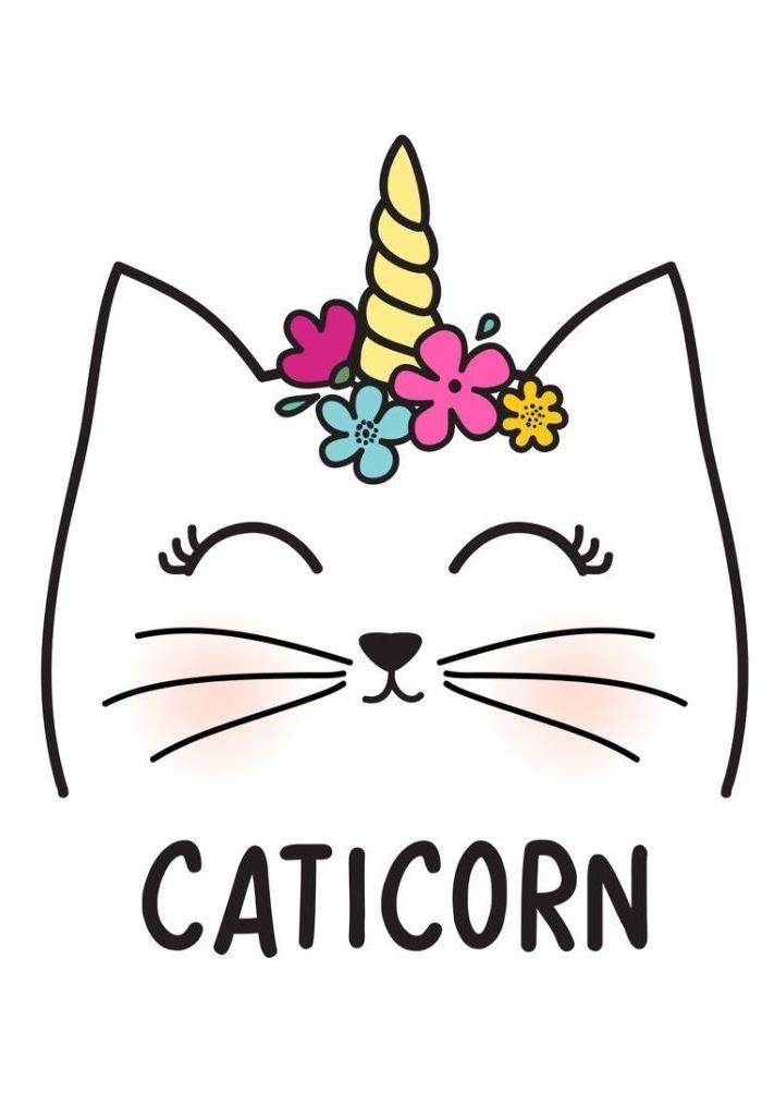 exemple de dessin chat licorne kawaii ou caticorne, tête de chat blanc avec corne jaune et fleurs colorées