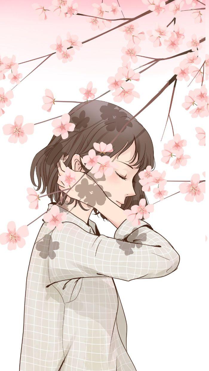fond d écran fille kawaii, dessin de fille cheveux coupe carré avec branche aux fleurs de cerisier