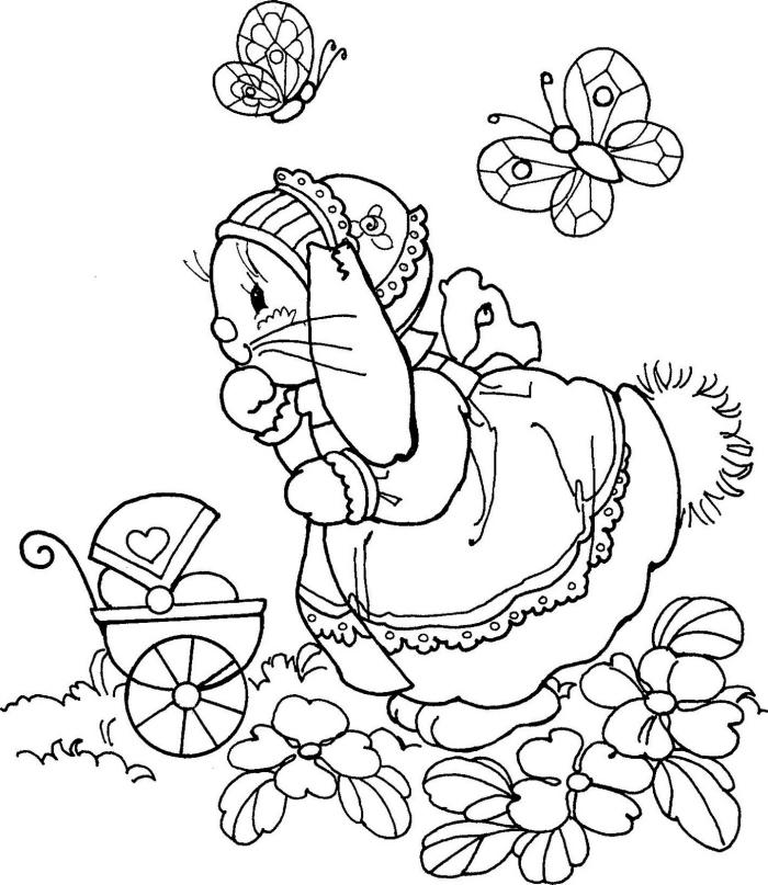 coloriage lapin facile pour petits, dessin à colorier pour enfant sur le thème de Pâque, illustration rigolo pour printemps