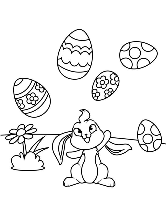 coloriage maternelle facile avec lapin et oeufs décorés, idée illustration simple à imprimer et colorer pour les enfants