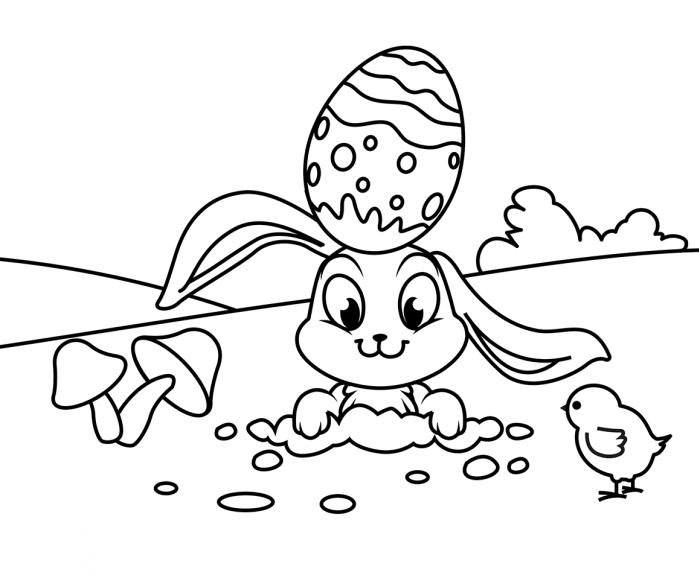 modèle de dessin oeuf de paques facile à imprimer et colorer avec lapin et oeuf décoré, idée coloriage simple pour enfant