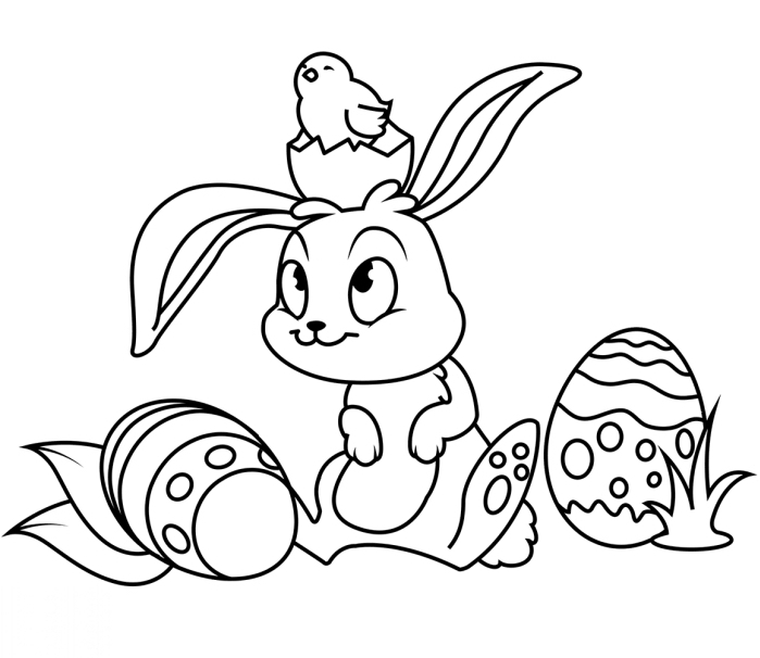 modèle de coloriage paques facile pour petits, dessin à imprimer sur le thème de Pâque avec petit lapin et son ami petit oiseau