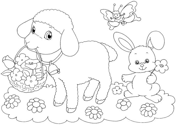 coloriage facile pour enfants sur le thème de Pâques, image à colorer avec petit lapin et son ami petit agneau