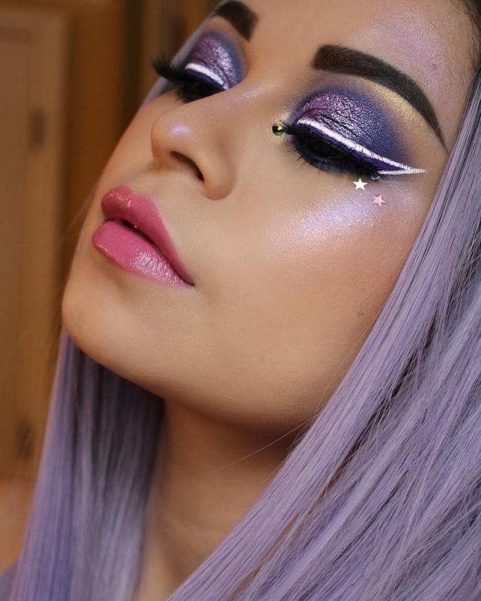 idée de maquillage artistique facile à réaliser avec ombres à paupières brillantes, make-up de festival avec eye-liner et étoiles