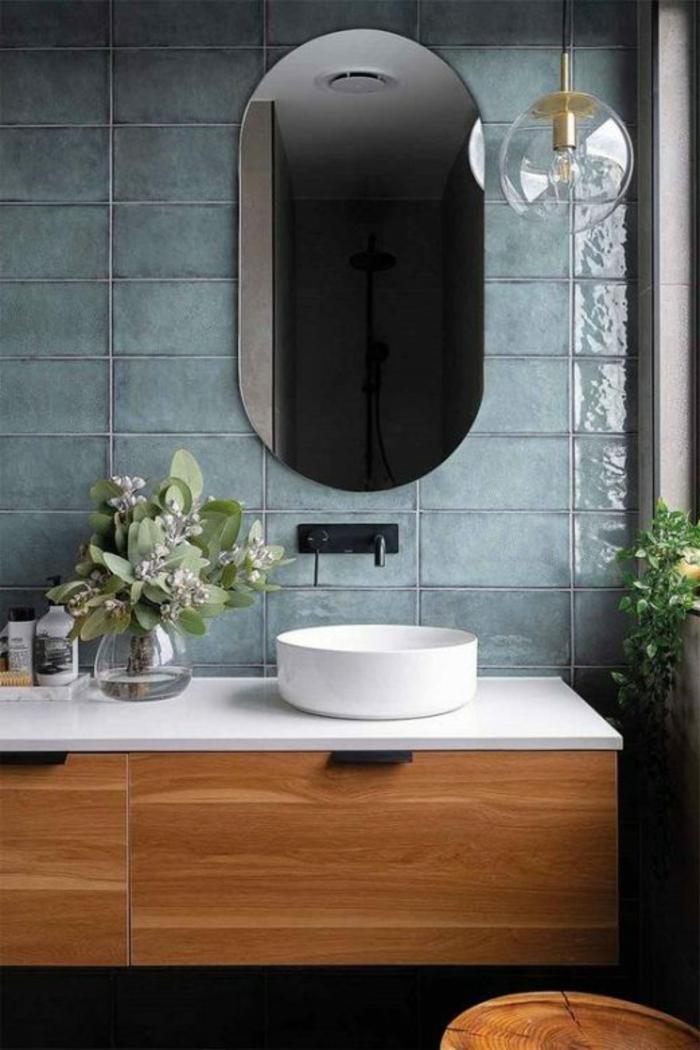 Oval miroir meuble en bois pour lavabo ronde, peinture vert de gris, amenagement salle de bain renouvellement