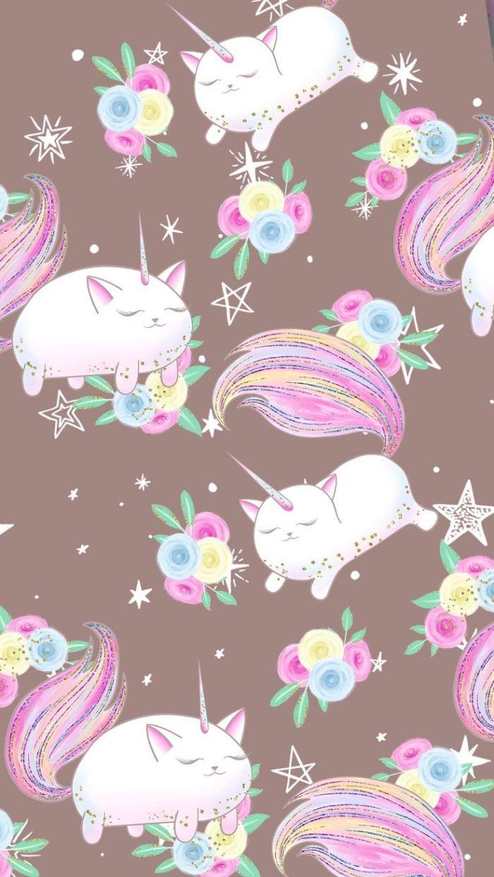 caticorne ou dessin chat licorne sur fond marron avec des fleurs colorées autour, idee de fond écran arc en ciel univers licorne simple