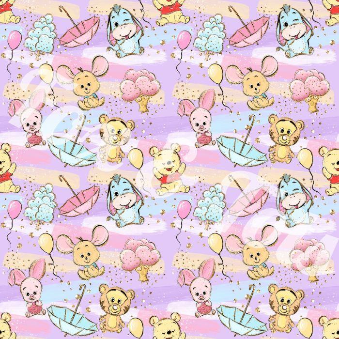 fond d écran cute de dessin winnie l ourson sur fond rose avec parasol et ballons, idee image mignonne