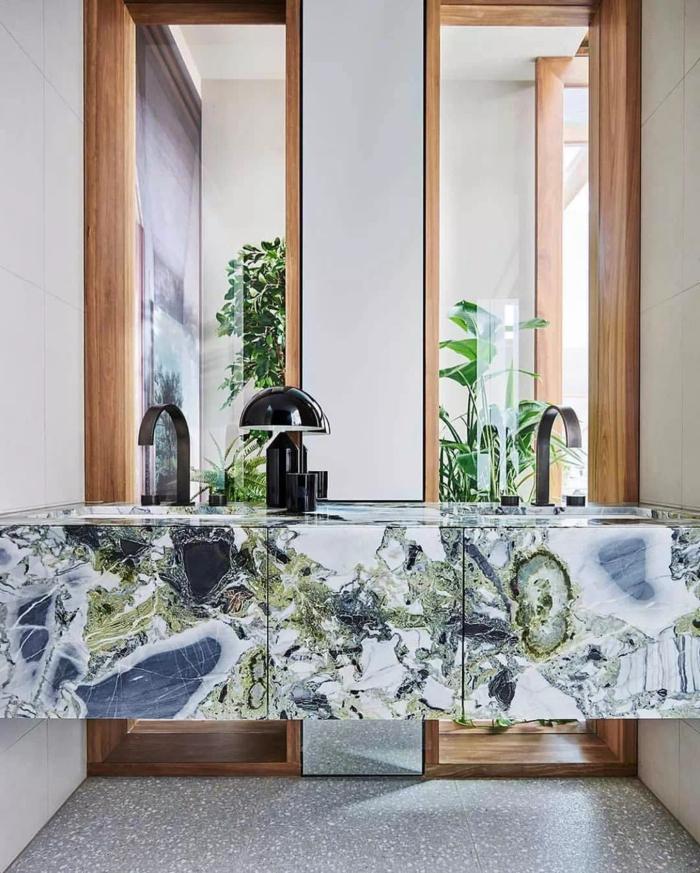 Marbre meuble de lavabo double, idee salle de bain, déco petite salle de bain peinture vert d'eau