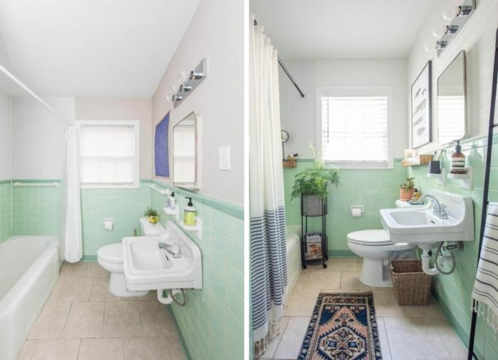 Mur bicolore en blanc et vert carrelage, échelle de rangement. déco salle de bain zen, modele de salle de bain peinture vert de bleu claire