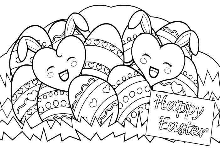 coloriage oeuf de paques simple, idée de carte pour la fête de Pâques à colorier, dessin panier aux oeufs de Pâques