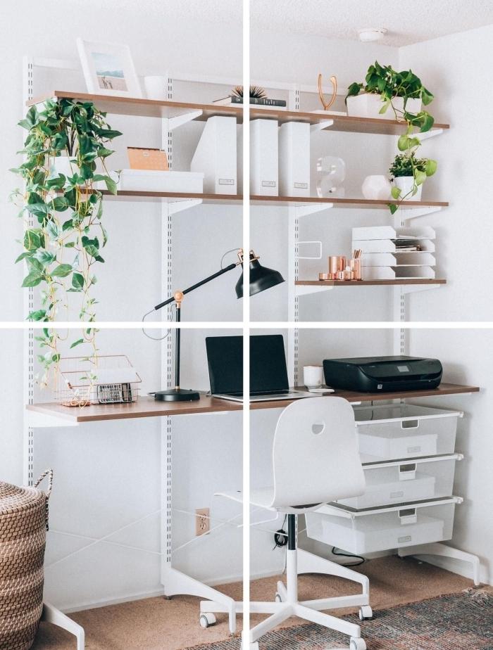 comment décorer un espace de travail, idée de bureau fait maison avec planche bois et meuble de rangement mural
