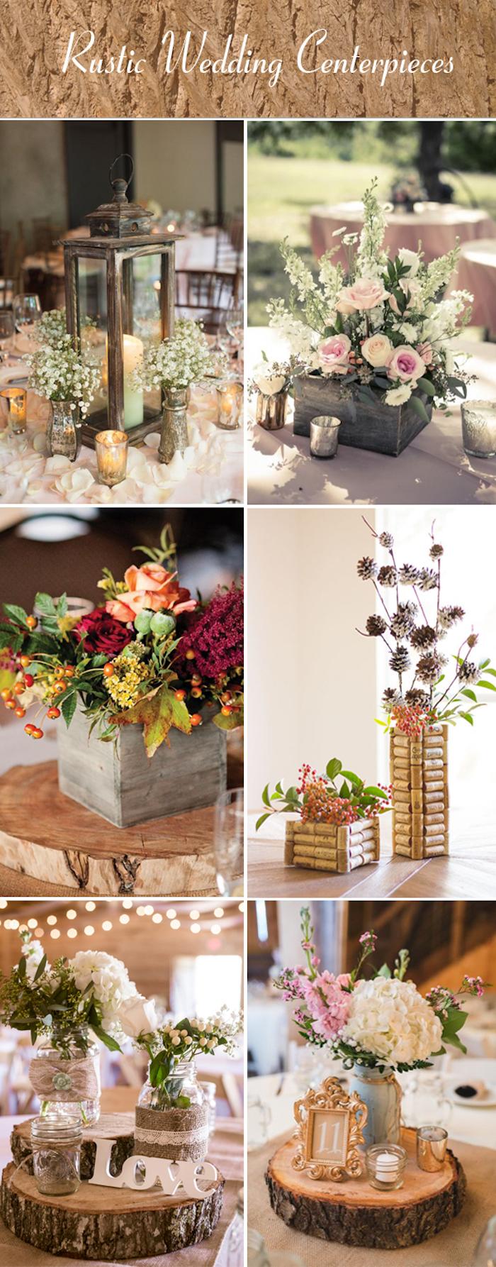Rustiqe mariage quel centre de table, idée décoration style bohème, belle deco champetre pour mariage plein air