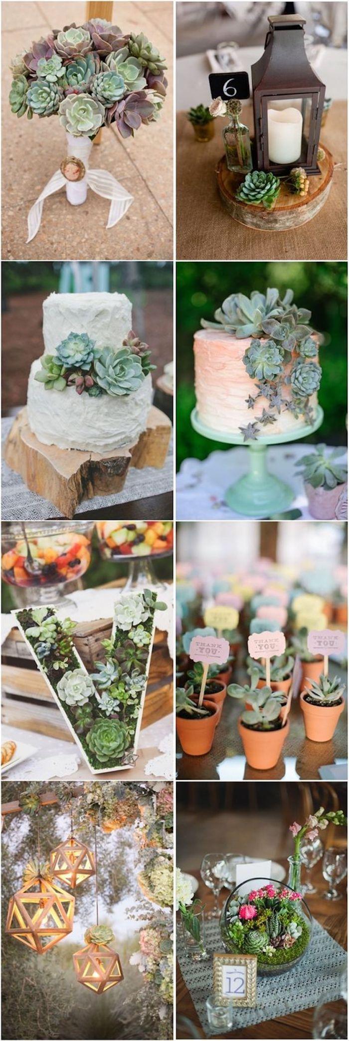 Centre de table fleurie, gateau de mariage original avec vertes decorations, deco champetre, exterieure deco mariage champetre a faire soi-meme