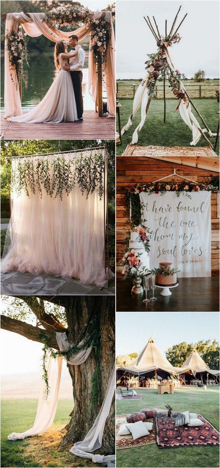 Belle idée mariage avec teepee ou déco avec tulles partout style boheme chic, le charme des champs mariage exterieur