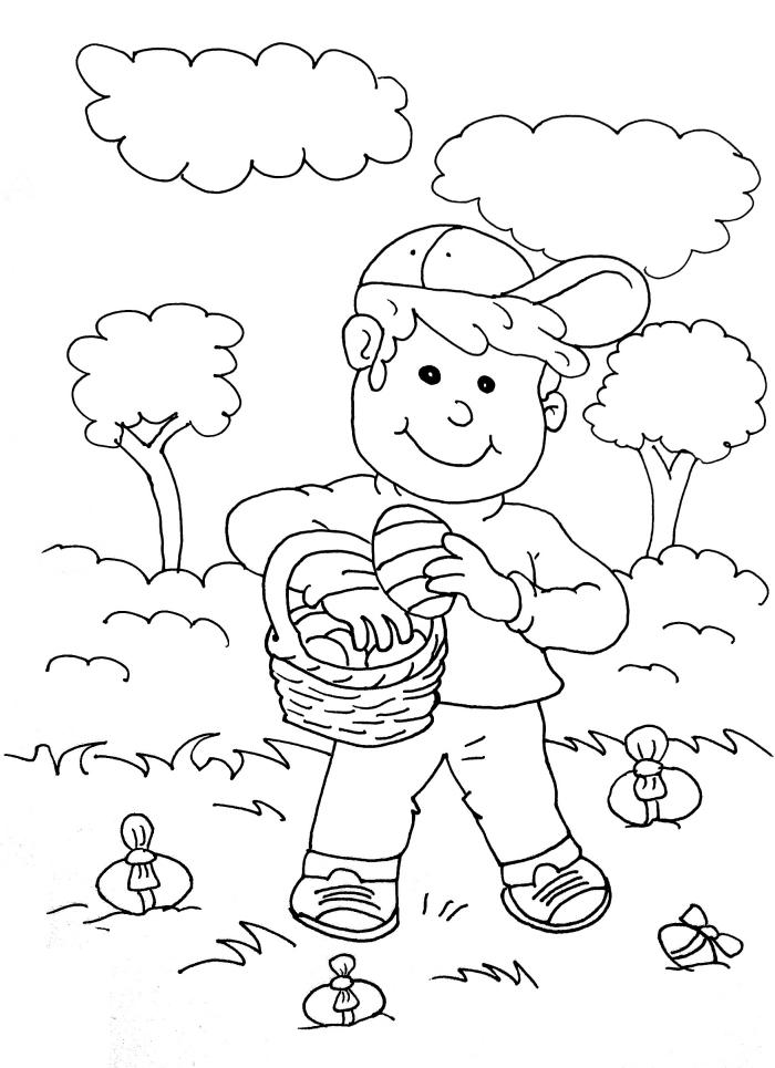dessin de paques simple, idée de coloriage facile pour enfant, modèle d'illustration ludique sur le thème pâques