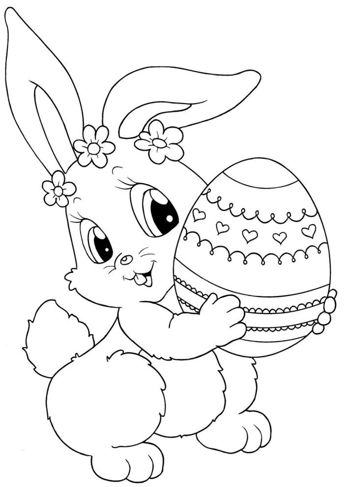 modèle de dessin de paques facile à imprimer et colorer pour enfant, coloriage facile avec lapin mignon et oeuf décoré