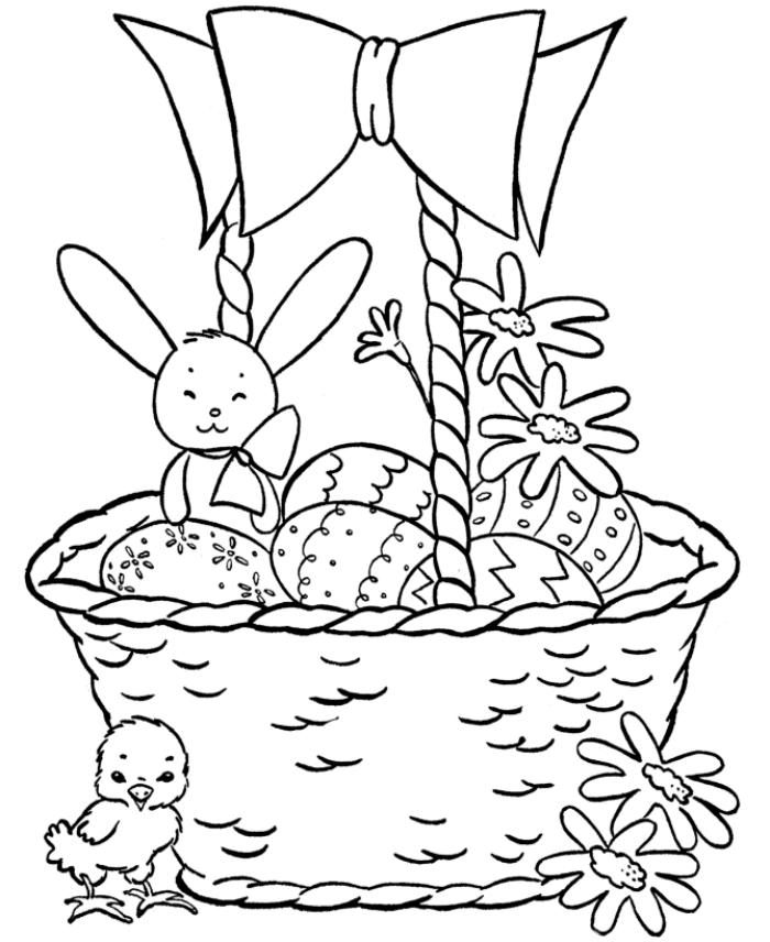 coloriage paques à imprimer, idée de dessin simple à colorier pour enfants, illustration à colorier sur thème de Pâques