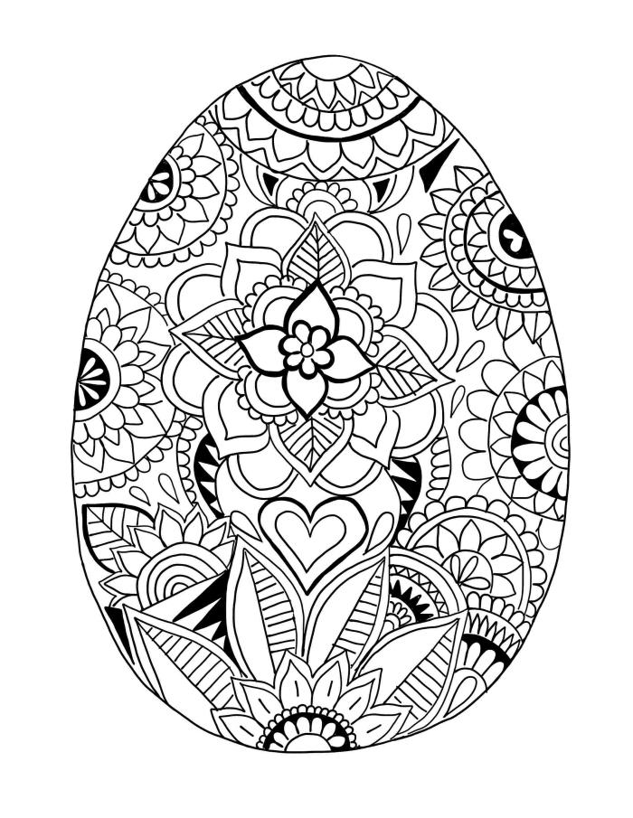 oeuf de paques à colorier, art-thérapie dessin mandala à motifs oeuf de Pâque géant décoré de fleurs mandala