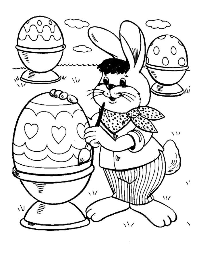 dessin de paques facile à colorier pour enfant, exemple de coloriage facile avec lapin artiste et oeufs décorés