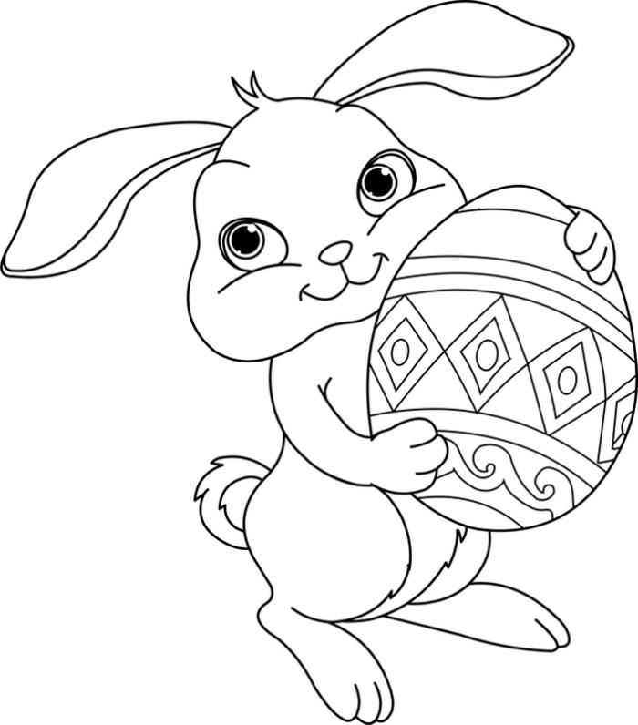 coloriage facile pour petits sur le thème de Pâques, idée de dessin simple et rigolo avec petit lapin et oeuf de Pâques