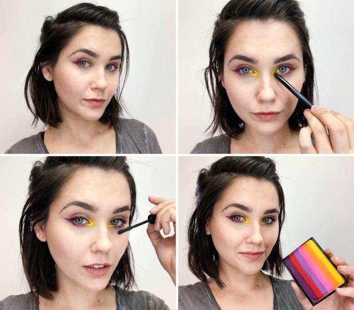 tutoriel comment faire un maquillage artistique avec peu de produits, maquillage yeux avec fards à paupières flashy