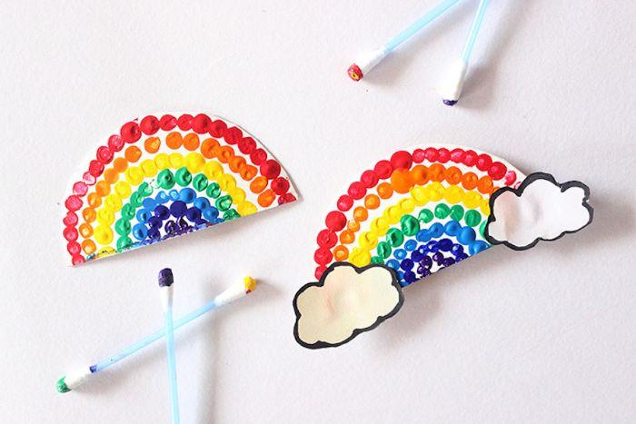idée d activité manuelle facile en papier, comment faire un arc en ciel de papier décoré de pois de peinture arc en ciel