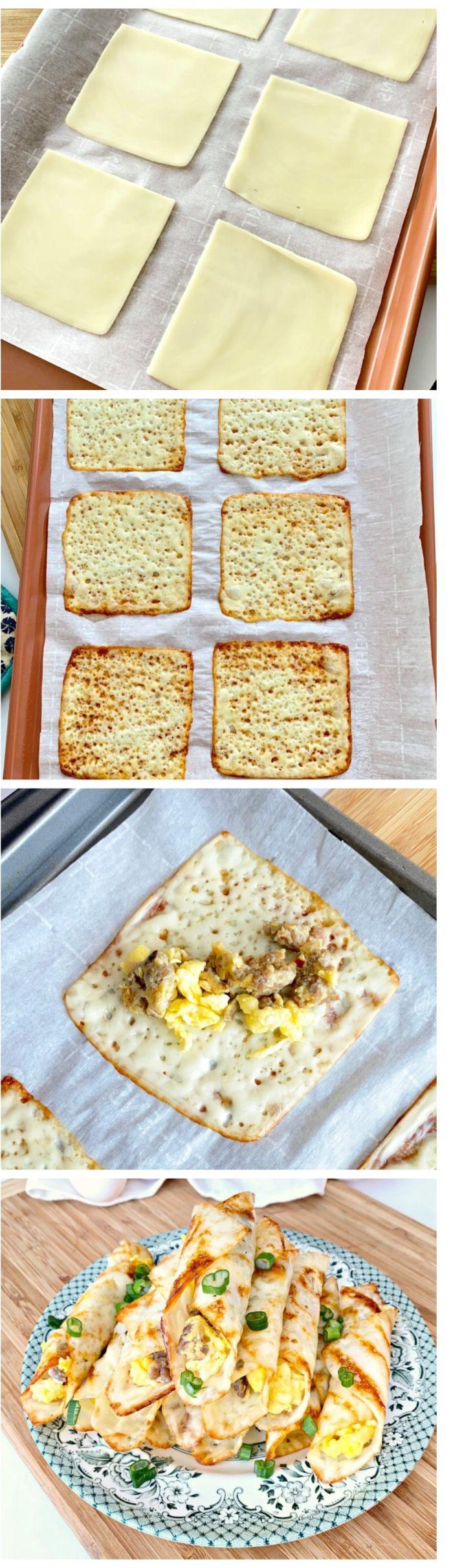 régime cétogène menu, exemple de petit dejeuner simple de rouleaux de fromage aux oeufs brouillés, saucisse
