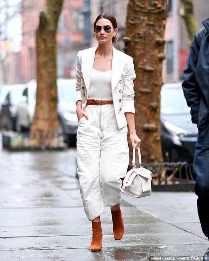 Automne tenue en lin ensemble tailleur femme chic, veste blazer femme tenue décontractée chic bottines marrons
