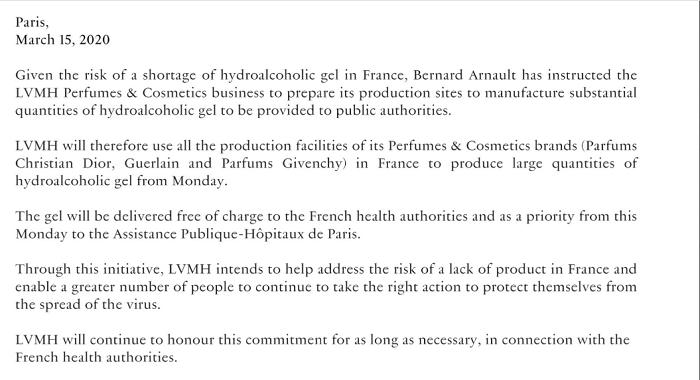 LVMH annonce par communiqué que les usines de parfums du groupe fabriqueront du gel hydro alcoolique à destination des hôpitaux de APHP