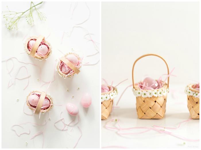 Miniature panier avec deux oeufs au chocolat dedans, petit cadeau de paques a faire soi meme, cadeau a faire soi meme pasque thème