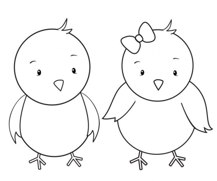 dessin de paques facile pour les petits, exemple illustration simple à colorier avec deux poulets, dessin facile à imprimer